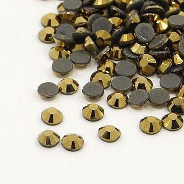 Glass Hotfix Rhinestone, Grade AA, Flat Back & Faceted, Half Round, Aurum, SS6, 1.9~2.0mm; about 1440pcs/bag(RGLA-A019-SS6-567)