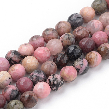 Natural Rhodonite Beads Strands, Faceted, Round, 4~4.5mm, Hole: 1mm, about 96pcs/strand, 15.5 inches(X-G-Q462-108-4mm)