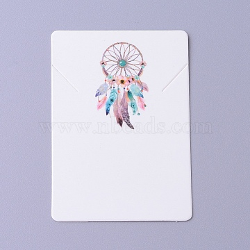 Cardboard Necklace Display Cards, Rectangle with Woven Net/Web & Feather Pattern, White, 6.95x5x0.05cm(CDIS-F002-07B)