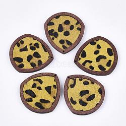 pendentifs en cuir de vachette environnementale, avec du bois teint, goutte d'eau avec imprimé léopard, or, 41x37.5x4 mm, trou: 1.2 mm(FIND-S301-32C-05)