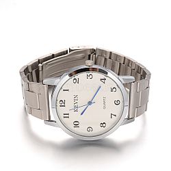 Men's Stainless Steel Wristwatch Quartz Watches, with Alloy Watch Head, White, 64x18~20mm; Watch Head: 48x42.5x9mm(WACH-F018-36B-01)