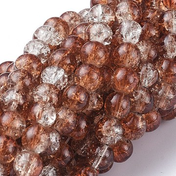 Baking Painted Crackle Glass Beads Strands, Round, SaddleBrown, 8mm; Hole: 1.3~1.6mm; about 100pcs/strand, 31.4inches(X-CCG-S001-8mm-18)