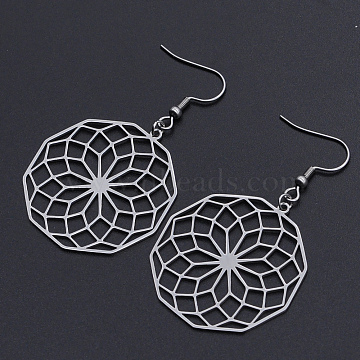 201 Stainless Steel Dangle Earrings, Seed of Life, Stainless Steel Color, 57mm; Pin: 0.6mm(STAS-S105-JN606-1)