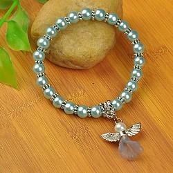 Bracelets d'ange belle avec robe de mariée pour les enfants, bracelets carnaval extensibles, avec verre perles de nacre et de perles de style tibétain, cyan, 45mm(BJEW-JB00727-02)