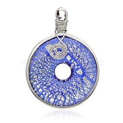 gros pendentifs en forme de donut / pi, avec les résultats en laiton de tonalité de platine, bleu, 57~61x44~46x10 mm, trou: 5~7x4~5 mm(PALLOY-J356-10A)