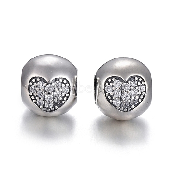 925 Sterling Silver European Beads, Large Hole Beads, with Cubic Zirconia, Carved with 925, Oval with Heart, Thai Sterling Silver Plated, 10x8.5x9.5mm, Hole: 4.5mm(OPDL-L017-055TAS)