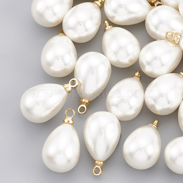 ABS Plastic Imitation Pearl Pendants, with Brass Findings, teardrop, Real 18K Gold Plated, 13x8x8mm, Hole: 1.6mm(X-KK-T035-63)