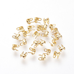Brass Bead Tips, Calotte Ends, Clamshell Knot Cover, Golden, 4x2.5mm, Hole: 1mm, Inner Diameter: 1.28mm, Fit for 1mm or 1.2mm ball chain(X-KK-Q669-38G)