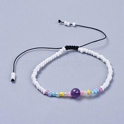 """Fils de nylon ajustables bracelets de perles tressées, avec perles rondes d'améthyste naturelle et de verre, 1-7/8"""" (4.9 cm)(BJEW-JB04371-03)"""