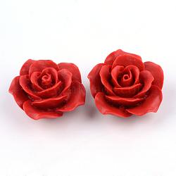 Киноварь бисера, цветок, огнеупорный кирпич, 20x20x10 мм, отверстие : 2 мм(CARL-Q004-79B)