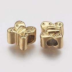 Supports de strass de perles européennes en 304 acier inoxydable, papillon, or, 11x11x8.5mm, trou: 5 mm; apte à 1 mm strass(STAS-J022-076G)