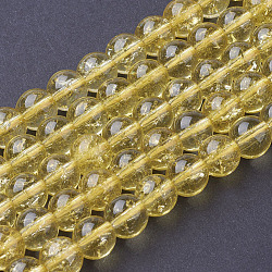 цитрин бисер нитей, вокруг, синтетический кристалл, окрашенная и подогревом, 8 mm, отверстия: 1 mm(X-G-C076-8mm-6A)