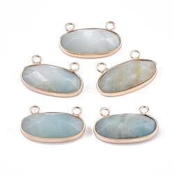 pendentifs amazonite naturelles, avec les résultats en laiton, facettes, ovale, or, 14x24.5~25x5.5~6 mm, trou: 2.5 mm(G-S344-44E)