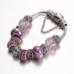 Bracelets en alliage avec perles européennes avec strass, avec des perles de verre et chaîne en laiton, lilas, 190mm(BJEW-L602-13C)
