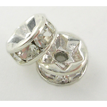 Middle East Rhinestone Spacer Beads, Clear, Brass, Silver Color Plated, Nickel Free, Size: about 5mm in diameter, 2.5mm thick, hole: 1mm(X-RSB035NF-01)