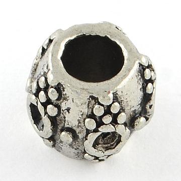 Tibetan Style European Large Hole Rondelle Bead Rhinestone Settings, Cadmium Free & Nickel Free & Lead Free, Antique Silver, Fit for 2mm Rhinestone; 11x9mm, Hole: 5mm; about 312pcs/1000g(TIBEB-M026-10AS-FF)