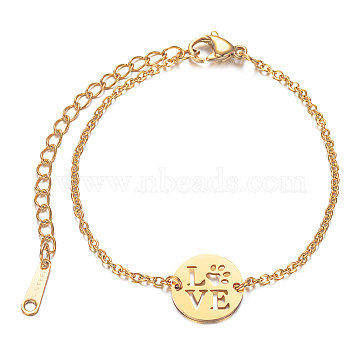 201 Stainless Steel Link Bracelets, with Cable Chains and Lobster Claw Clasps, Flat Round with LOVE, Golden, 6 inches~6-3/4 inches(15~17.5cm); 1.5mm(STAS-T040-JN012-2)