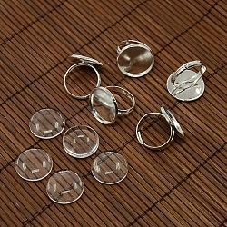 18 мм Ширина купольные стекло кабошон крышкой и латуни колодки кольцо основания для поделок портрет кольцевой материалы, серебряные, кольцо основы: 17 мм; лоток: 18 мм(DIY-X0130-S)
