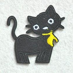 fer à repasser informatisé / coudre des patchs, accessoires de costumes, appliques, forme de chat, noir, 50x50 mm(DIY-O003-23)
