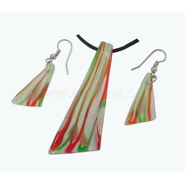 Red Foil Glass Earrings & Necklaces