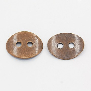 Brass Button Clasps, Nickel Free, Red Copper, about 10mm wide, 14mm long, 1mm thick, hole: 2mm(KK-G080-R-NF)