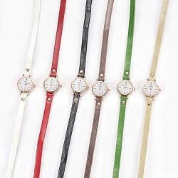 """Montre en alliage montres bracelet tête, Avec cuir pu et strass, 3-loop, Les bracelets d'enveloppe, plat rond, couleur mixte, 22"""" (56 cm), 7.5mm(WACH-P017-E)"""