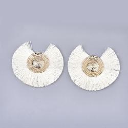 Décorations en gros pendentif en polypropylène, avec les conclusions de fer, fan, or et de lumière, blanc crème, 73~77x78~83x5~6 mm, trou: 1.2 mm(FIND-T035-04F)