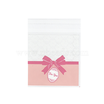 Rectangle OPP Cellophane Bags, Pink, 12.8x9.9cm, Unilateral Thickness: 0.035mm, Inner Measure: 10.1x9.9cm, about 95~100pcs/bag(OPC-I005-07B)