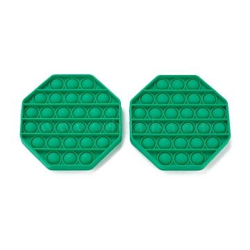 Silicone Push Pop Bubble Fidget Sensory Toy, Bubble Popper Fidget Toy, Stress Anxiety Relief Toys, Hexagon, Green, 125x15mm(DIY-J004-E01)