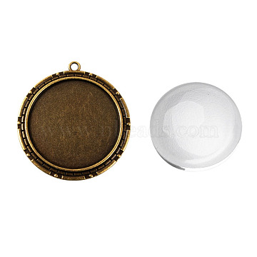 Pendant Making Sets, with Alloy Pendant Cabochon Settings and Glass Cabochons, Flat Round, Nickel Free, Antique Bronze, Tray: 40mm, 54x50x2mm, Hole: 3mm, 39.5~40x8mm(DIY-X0289-037AB-NF)