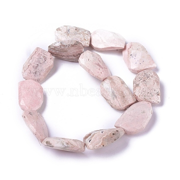 Natural Rhodochrosite Beads Strands, Flat Slab Beads, Nuggets, 29~35x20~22x9~11mm, Hole: 1.2mm, about 13pcs/strand, 15.35 inches(G-P422-27)