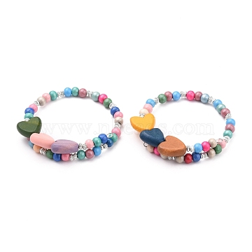 Kids Bracelets, Natural Wood Beaded Stretch Bracelets, with Alloy Spacer Beads, Heart, Mixed Color, Inner Diameter: 2~2-5/8 inches(5.1~6.8cm)(BJEW-JB05677-03)