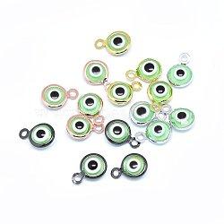 Breloques vernissées de mauvais œil manuelles, avec les accessoires en laiton, plat rond, lightgreen, couleur mixte, 10x6.5x3mm, Trou: 1.5mm(KK-F764-13-03)