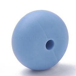 Экологические силиконовые бусины, жевательные бусины для чайников, DIY уход за ожерельем, плоско-круглые, васильковые, 14x8 мм, отверстие : 3 мм(SIL-Q001B-52)