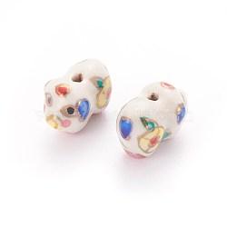 Perles de porcelaine imprimées manuelles, porc, colorées, 12~13x17~19x10~12mm, Trou: 1.2mm(PORC-E015-15A)
