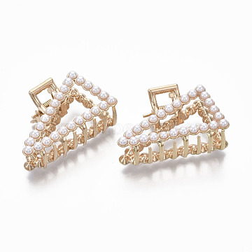 Alloy Claw Hair Clips, with ABS Plastic Imitation Pearl, Triangle, Light Gold, White, 50x30x23.5mm(PHAR-T001-08LG)