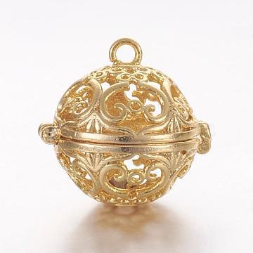 Brass Cage Pendants, For Chime Ball Pendant Necklaces Making, Hollow Round, Golden, 17x17.5x14.5mm, Hole: 1mm; Inner Diameter: 11.5mm(KK-K173-06G)