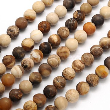 Frosted Round Natural Petrified Wood Beads Strands, 6mm, Hole: 1mm; about 65pcs/strand, 15.3 inches(X-G-N0166-71-6mm)