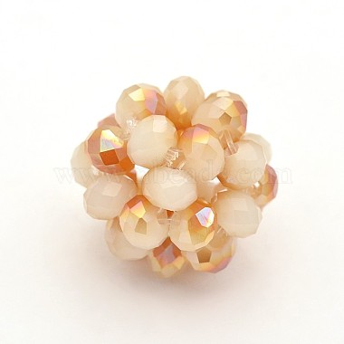 Electroplate Rondelle Imitation Jade Glass Crystal Round Woven Beads(X-GLAA-A034-6mm-E)-2