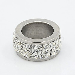 304 perles de colonne en acier inoxydable, avec argile polymère strass, couleur métallique en acier inoxydable, cristal, 13x6mm, Trou: 8mm(RB-I065-02)