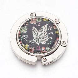 крючки вешалки мешка сплава цинка, с раковинами и стеклом, плоский круг с краном, платина, красочный, 44x9 mm(BAGH-WH0001-A06)