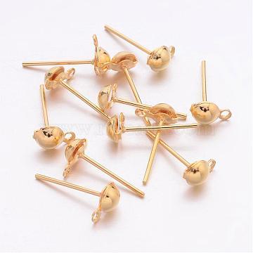 Accessoires poste de boucles d'oreille demi-balle en fer clous d'oreilles, avec boucle, or, Longueur 13mm, trou: 1 mm; demi-boule: 4.3 mm de diamètre(X-E219-G)