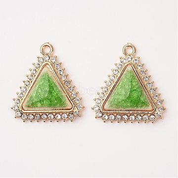 Triangle Alloy Porcelain Pendants, with Rhinestones, Light Gold, Pale Green, 33x31x6mm, Hole: 2.5mm(PALLOY-L184-10KCG)