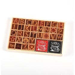 Fantaisie Majuscule ensembles de tampons encreurs en bois, 11x17x3 cm; environ 32 pcs / boîte(AJEW-E008-10)