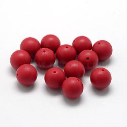 экологические силиконовые бусины, жевательные бусины для чайников, DIY уход за ожерельем, вокруг, красный, 14~15 mm, отверстия: 2 mm(SIL-R008C-04)