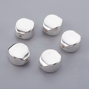 CCB Plastic Beads, Flat Oval, Silver Color Plated, 19x17x11mm, Hole: 2.5mm(CCB-E052-55S)