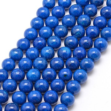8mm Blue Round Fossil Beads