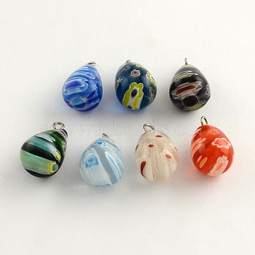 Handmade Millefiori Glass Pendants, with Platinum Plated Iron Findings, teardrop, Mixed Color, 17~20x12mm, Hole: 2mm(X-LK-R005-14)