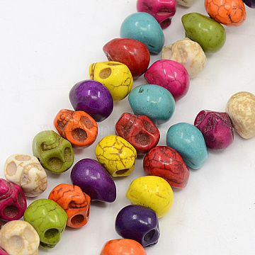 12mm Mixed Color Skull Howlite Beads
