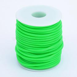Tuyau creux corde en caoutchouc synthétique tubulaire pvc, enroulé aurond de plastique blanc bobine, lime, 4mm, trou: 2 mm; environ 15 m / rouleau(RCOR-R007-4mm-03)